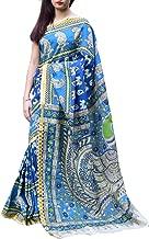 GiftPiper Kalamkari Silk Saree with Zari Border -Blue