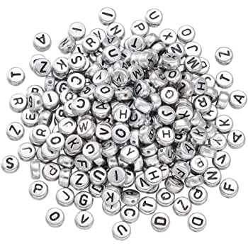 7mm Silver Flat Round Alphabets Acrylic Beads Mixed or Single Letters Letter I