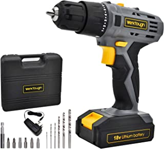 Werktough 18/20V Cordless Drill Driver Li-ion Battery 2 Variable Speed Fast Charger Powerful Screwdriver Tool Kit Gift Box...