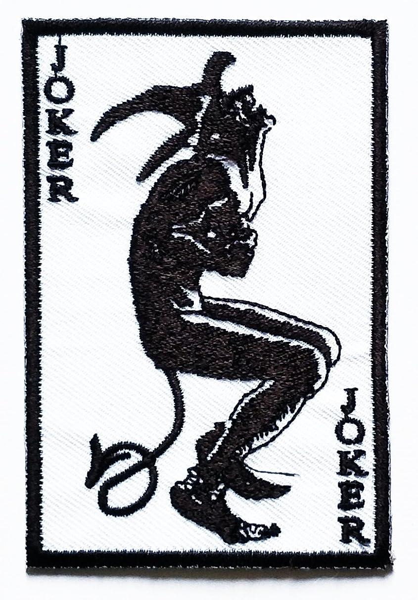 Nipitshop Patches White Joker Devil Demon Poker Cards Rockabilly Rocker Biker Patch Skull Ghost Patch Biker Motorcycle Rider Novelty Patch for Clothes Backpacks T-Shirt Jeans Skirt Vests Scarf Hat