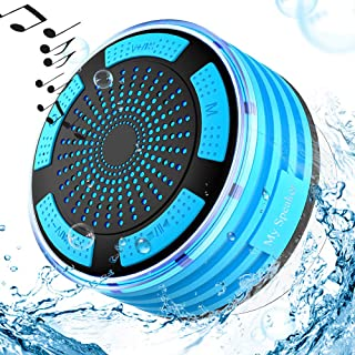 Waterproof Outdoor Speaker Bluetooth Speaker 5W Bass Built-in MIC Speakerphone LED Mood Light Shower Speaker with Suction Cup Hands-Free Calling