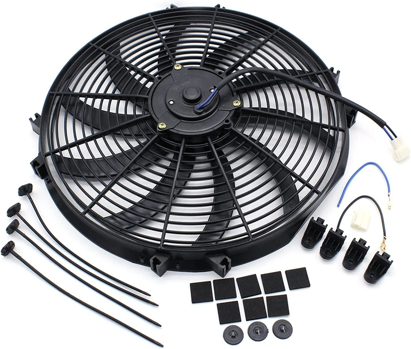 16 inch Max 77% OFF Push Pull Car Radiator Cooling S Fan Sl 12V Curved Seasonal Wrap Introduction Blade