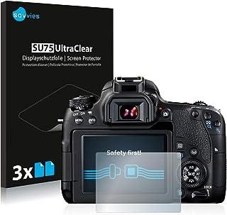 savvies Protector Pantalla Compatible con Canon EOS 77D (6 Unidades) Pelicula Ultra Transparente