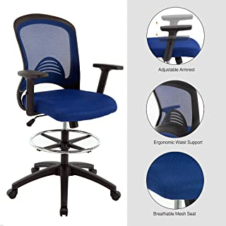 Ergonomic Mesh Office Drafting Chair - Adjustable Height with arms, Tall Office Computer Reception Desk Chair (Blue-2)
