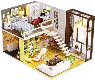Spilay DIY Miniature Dollhouse Wooden Furniture Kit,Handmade Mini Modern Duplex Apartment Model with Dust Cover & Music Bo...