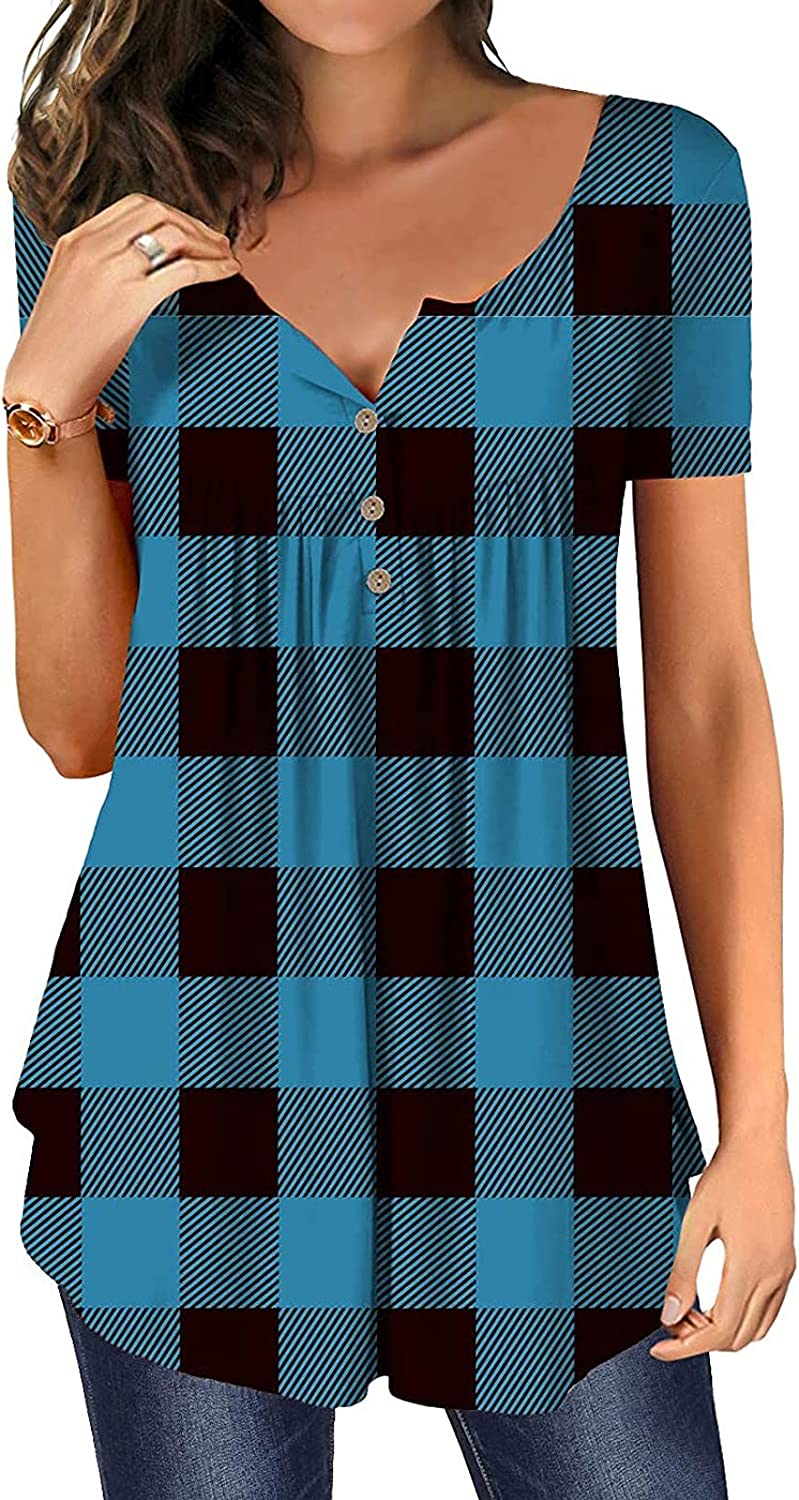 Plaid Printed Women's Shirt Casual Short Sleeve Tunic Tops Sexy V-Neck Comfortable Blouse Women Summer Plus Size