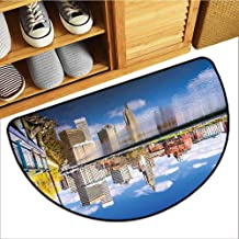 Axbkl Welcome Door mat United States Providence Rhode Island Riverfront Spring Season Water Reflection Buildings Easy to Clean W36 xL24 Multicolor