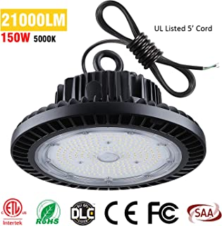 TREONYIA UFO LED High Bay Light 150W, 21000LM 5000K ETL&DLC Listed (600W HID/HPS Equivalent), Super Bright LED Shop Garage Warehouse Lighting Lamp Fixture, IP65 Waterproof (with UL Approved 5' Cable)