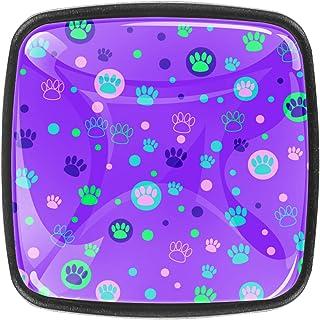 Paquet de 4 boutons d'armoire de cuisine, boutons pour tiroirs de commode Imprimé de pied animal coloré Tire les poignées ...