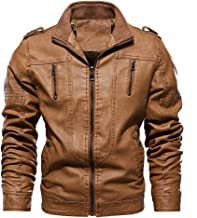 Chartou Men's Stand Collar Zip-Up Washed PU Leather Fleece Lined Moto Racer Jacket