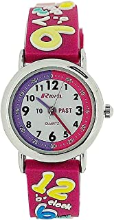 """Ravel Time Teacher Girls 3D""""Know Your Numbers"""" Rubber Watch +Telling Time Award"""