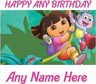 Feliz cumpleaños Dora la Exploradora Mono A4 - Lámina para glaseado de tarta de cumpleaños