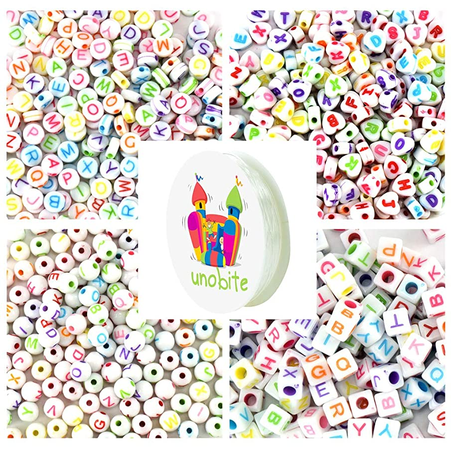 Unobite 1000 Pieces Alphabet Letter Beads, 4 Different Shapes, A-Z Letter Beads for Jewelry Making, Bracelets, Necklaces, Key Chains with 1 Roll Elastic Beading Cord …