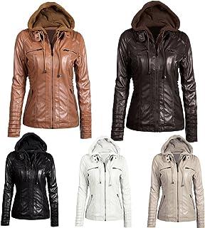 Festnight Women Leather Hooded Jacket,Women's Faux Leather Hooded Jacket Zippered Hoodie Short Slim Motorcycle Jacket Coat