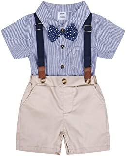 Cotrio Conjunto de roupas de duas peças para bebês meninos terno formal com alças suspensas cavalheiros para aniversário d...