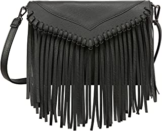 Women's PU Leather Hobo Fringe Crossbody Tassel Purse Vintage Small Handbag