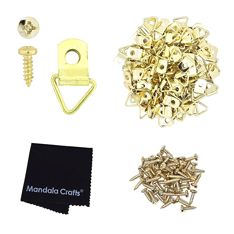 Mandala Crafts Triangle Heavy Duty Strap Hangers D-Ring Hooks with Screws for Mirror Sign Frame Art Picture Hanging (100 Pieces, Gold)