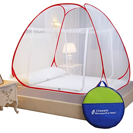Classic Mosquito Net , Double Bed King Size , Polyester Foldable - Red.