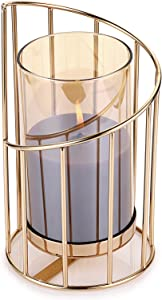 """OwnMy Geometric Pillar Candle Holder Decorative Candle Stand Metal Tea Light Holder with Removable Glass Cover, Golden Candlestick Vase Votive Candle Holder Candle Centerpieces for Home Table, 7.6""""H"""