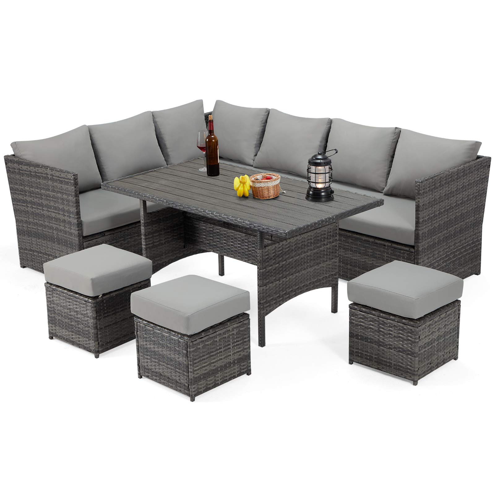 U-MAX 7 Pieces Patio Furniture Set Outdoor Sectional Sofa Conversation Set All Weather Wicker Rattan Couch Dining Table & ...