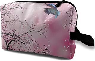 Pink Abstract Japanese Cherry Blossom 2 Travel Makeup Bag Train Case Toiletry with Zipper for Women or Girls