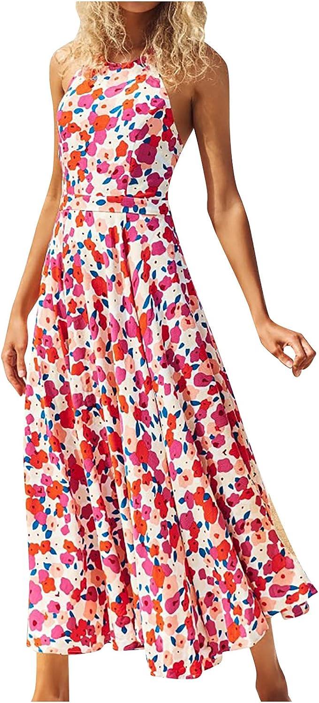 Women Spaghetti Strap Floral Maxi Dress,Sleeveless Backless V-Neck Bohemian Casual Flowy Sundress Beach Party Dresses