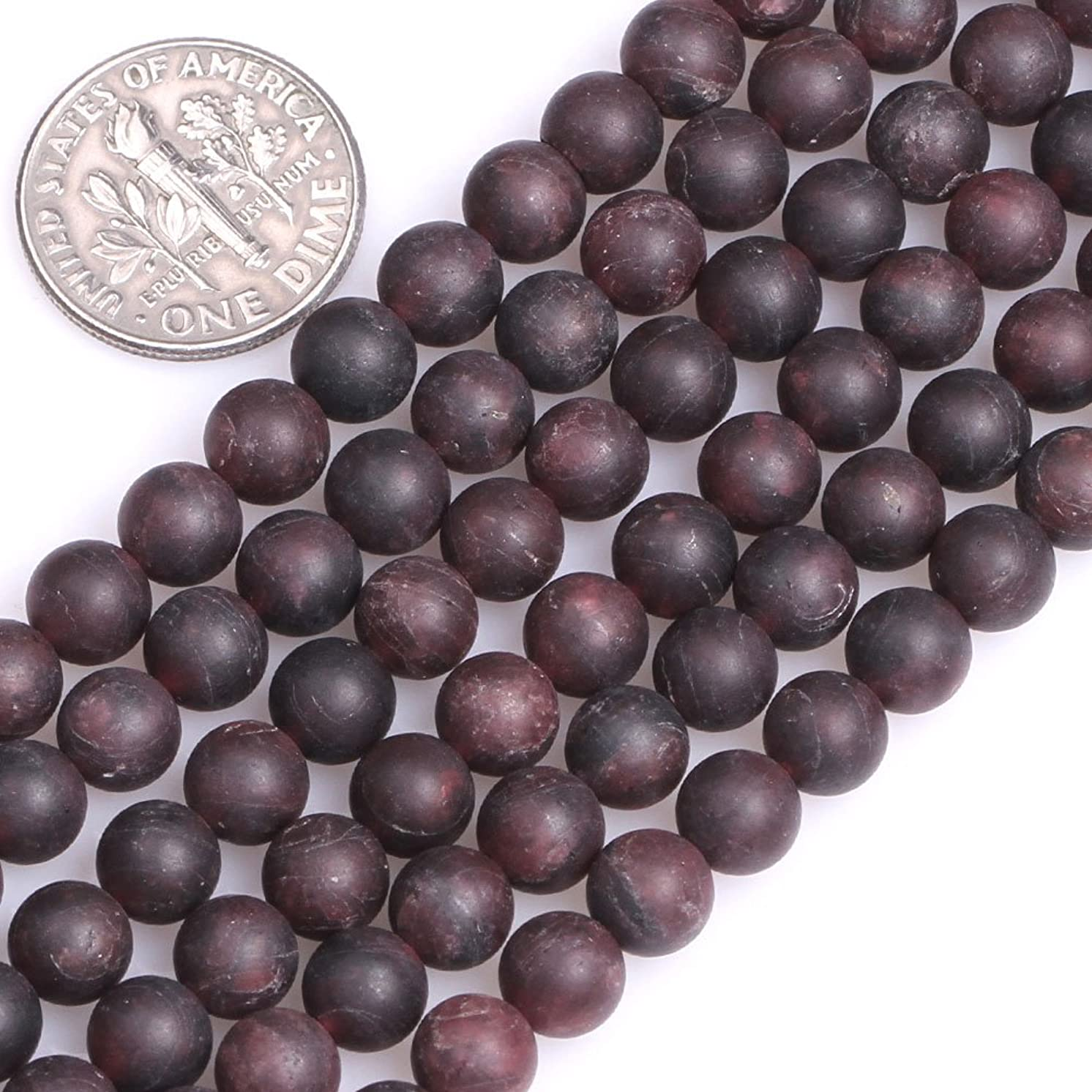 GEM-Inside Natural Red Matt Antiqued Frosted Garnet Gemstone Loose Beads Natural 6mm Energy Stone Power for Jewelry Making 15''