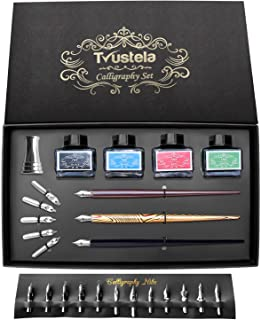 Calligraphy Set For Beginners, 3 Calligraphy Pens, 4 Ink Bottle 15ml, 20 Calligraphy Nibs, 1 Calligraphy Pen Holder, Dip P...