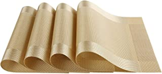 SKEIDO Placemats Vinyl Gold Dining Table Rectangle Placemats Table Mat Set of 4 PVC Insulation Non-Slip Insulation Pad Hom...