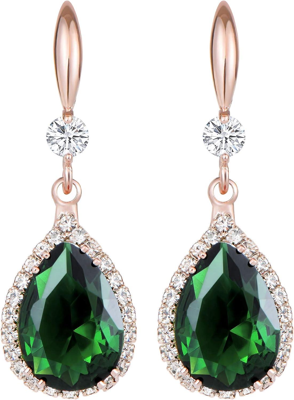 Jertom 14k Gold Plated Copper Teardrop Ab Stone Cubic Zirconia Rhinestone Crystal Hook Dangling Earrings for Women Girls