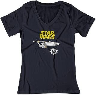 Women's Star Wars No 1 Fan Star Trek Enterprise Funny V-Neck Shirt