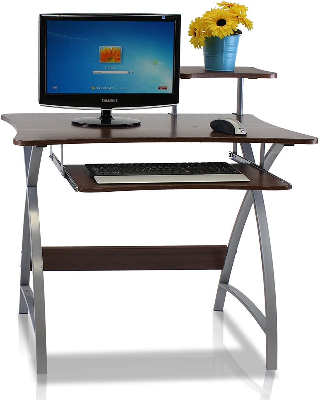 Furinno FNBL-22005 Besi New Office Computer Desk, Dark Wood Grain