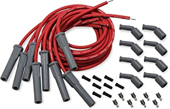 Holley 561-112 Spark Plug Wire Set Cut To Fit Wire Set 8.2 mm Red Wires w/Grey 180 Degree Boots Spark Plug Wire Set