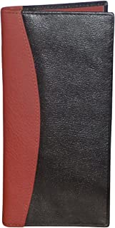 Style98 Men and Women Traveller Genuine Leather long Wallet with 16 Card Slots Black and Red 31822IAC