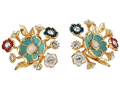 SOLE / SOCIETY Bouquet Stud Earrings (12K Soft Polish Gold/Ivory/Crystal/Multicolor) Earring