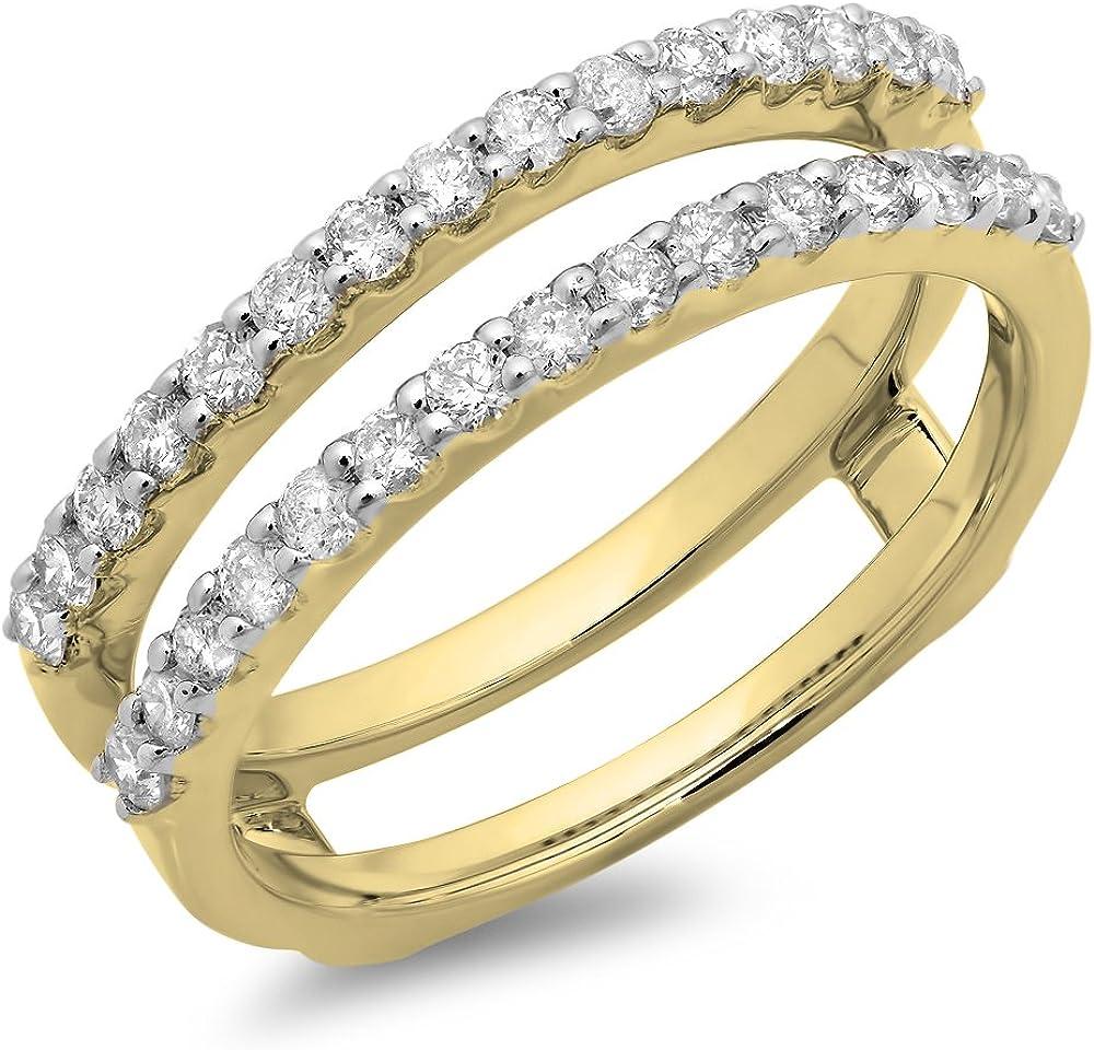 Dazzlingrock Collection 0.50 Carat (ctw) 10K Gold Round Diamond Ladies Anniversary Wedding Enhancer Guard Double Ring 1/2 CT