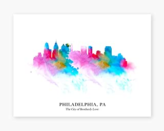 Philadelphia Cityscape - The City of Brotherly Love Skyline - Wall Art Print 11inch x 14inch - Perfect Gift under 15 Dollars