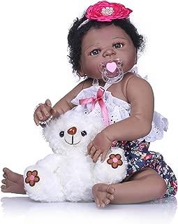 Pinky 23 Inch 57cm Realistic Looking Soft Dolls Full Body Silicone Vinyl Reborn Baby Girl Dolls Lifelike Newborn Baby Dolls Toddler Native American India Style Black Skin Xmas Gift
