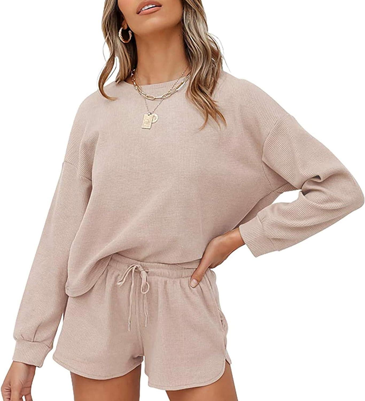 MEROKEETY Women's Long Sleeve Pajama Set Henley Knit Tops and Shorts Sleepwear Loungewear