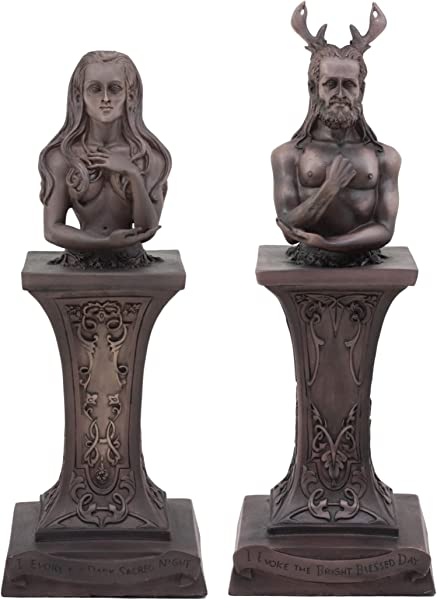 Ebros Neopaganism Wiccan Primary Deity Statue Featuring The Masculine Horned God Or Feminine Crescent Moon Triple Goddess Busts On Pedestal Set Of Two Triple Moon Goddess And Horned God