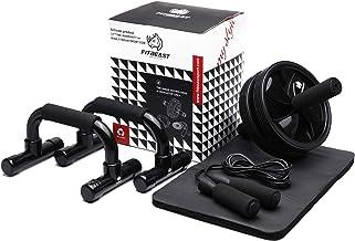 3-in-1 Ab Wheel Roller Set AB Roller met Push-Up Bar, Skipping Touw en Knie Pad - Home Workout Apparatuur voor Abdominal C...
