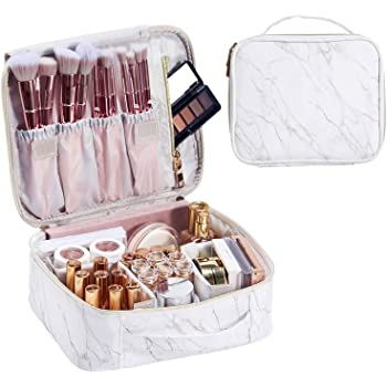 Stagiant Marble Leather Makeup Bag Train Case for Women Portable Travel Makeup Case Storage PU Leather Cosmetic Organizer with Dividers for Girl Cosmetic Make Up Tools Toiletry Jewelry White Marble