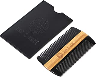 Premium Genuine Ox horn and Sandalwood Dual Action Beard Comb & PU Leather Protective Sleeve - the Perfect Beard Grooming Companion for Men