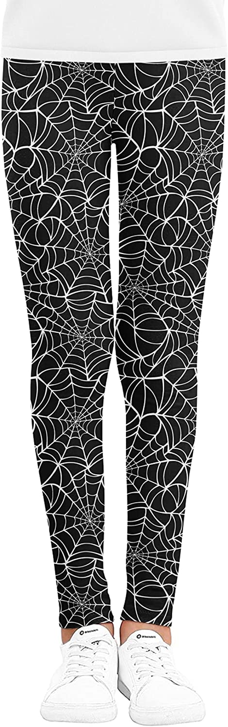 Kids Girls Spider Web Print Leggings Halloween Casual Black Sports Trousers Tight Stretchy Sports Trousers (Black, 120)