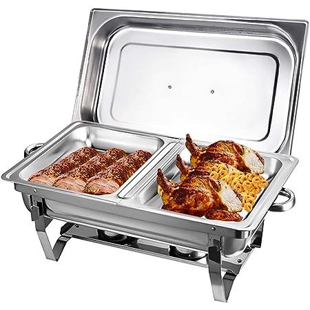 Récipient de conservation au chaud 9 l en acier inoxydable - Chauffe-plat avec 2 récipients à pâte combustible - Support pliable et maniable pour la cuisine, la restauration, les buffets