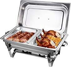 Récipient de conservation au chaud 9 l en acier inoxydable - Chauffe-plat avec 2 récipients à pâte combustible - Support p...
