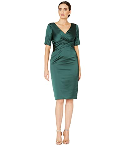 Adrianna Papell Pleat Wrap Satin Cocktail Dress (Forest) Women