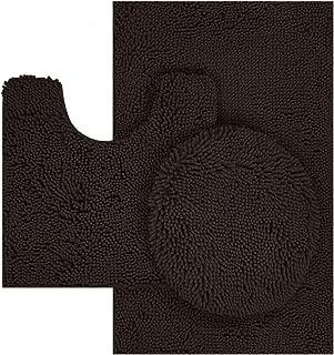TREETONE Chenille Bath Mat 3 Piece Bathroom Rugs Set, 20x20 Inchs U-Shape Contoured Toilet Mat & 20x32 Inchs Rug & 1 Lid Cover Water Absorbent Plush Rugs for Tub Shower & Bath Room -Chocolate Brown