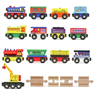 Tiny Conductors 12 Wooden Train Cars, 1 Bonus Crane, 4 Bonus Connectors, Locomotive Tank..