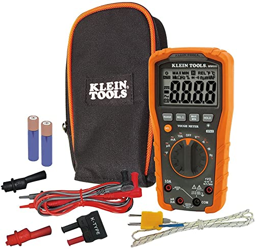discount Klein outlet online sale Tools MM600 HVAC Multimeter, Digital online sale Auto-Ranging Multimeter for AC/DC Voltage, and Current, Temperature, Frequency, Continuity, More , Orange online